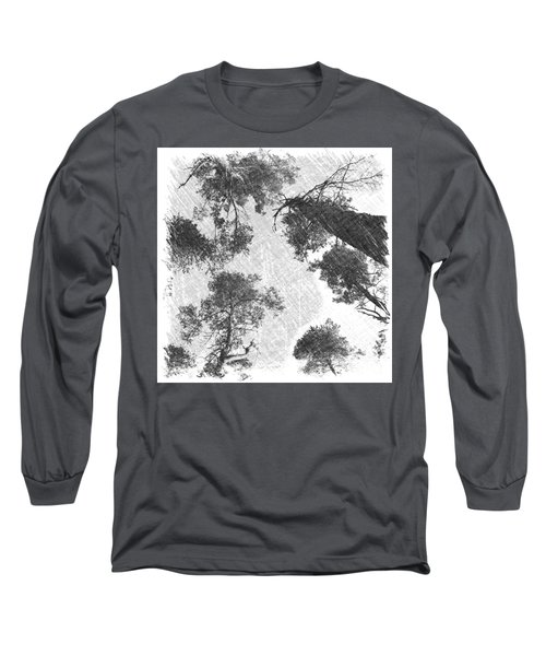 Charcoal Trees Long Sleeve T-Shirt by RKAB Works