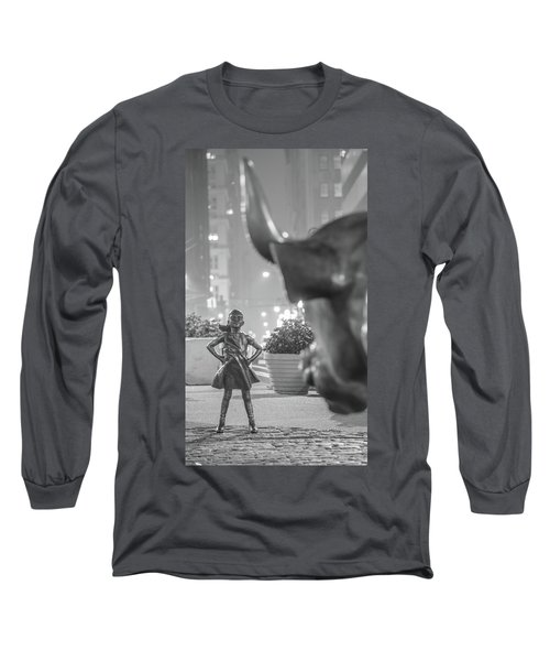 Charging Bull And Fearless Girl Nyc  Long Sleeve T-Shirt