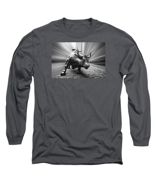 Charging Wall Street Bull B W Long Sleeve T-Shirt