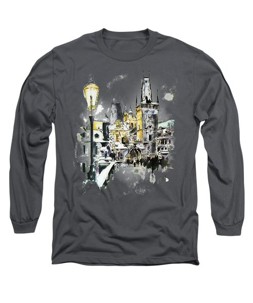 Charles Bridge In Winter Long Sleeve T-Shirt by Melanie D