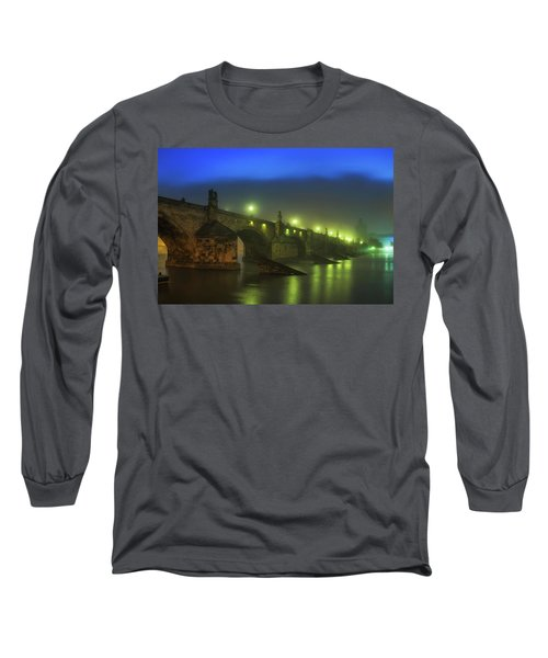 Charles Bridge Night In Prague, Czech Republic Long Sleeve T-Shirt