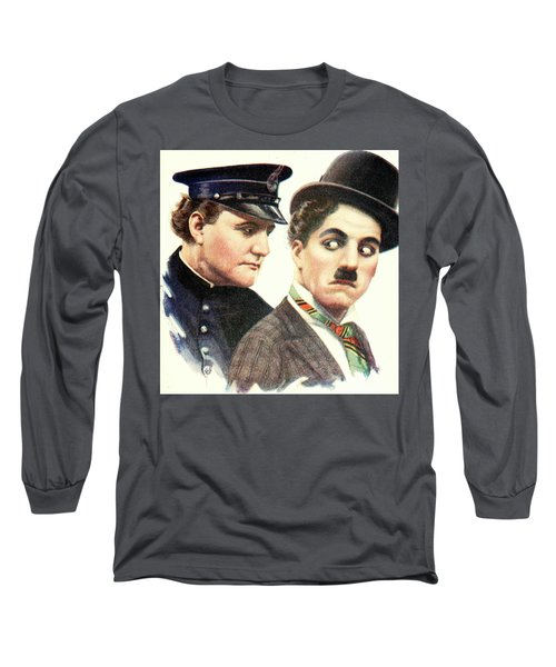 Charlie Chaplan And The Keystone Cop Long Sleeve T-Shirt