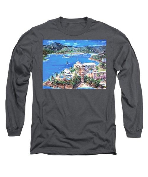 Charlotte Amalie Marriott Frenchmans Beach Resort St. Thomas Us Virgin Island Aerial Long Sleeve T-Shirt by Bernadette Krupa