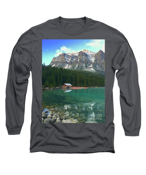 Long Sleeve T-Shirt featuring the photograph Chateau Boat House by Jacqueline Faust