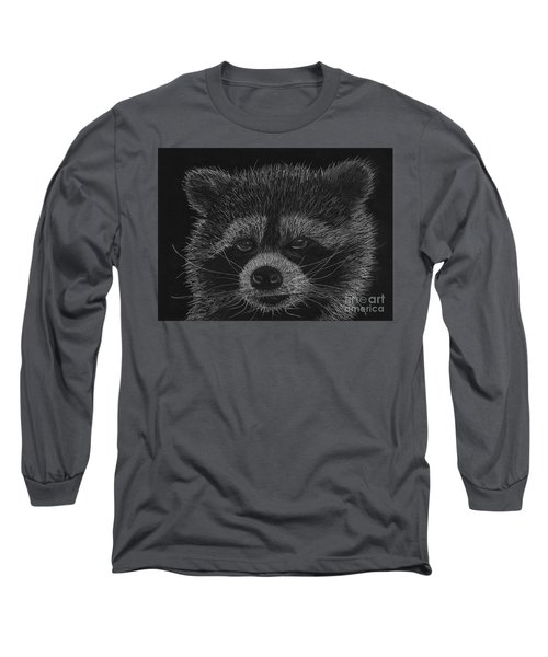 Cheeky Little Guy - Racoon Pastel Drawing Long Sleeve T-Shirt