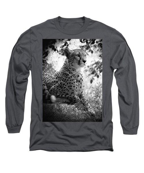 Cheetah B W, Guepard Black And White Long Sleeve T-Shirt