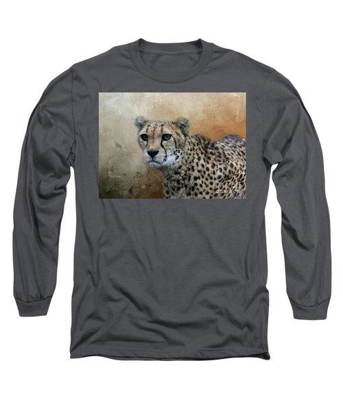 Cheetah Portrait Long Sleeve T-Shirt by Eva Lechner