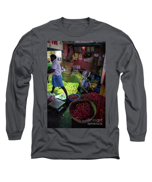 Long Sleeve T-Shirt featuring the photograph Chennai Flower Market Busy Morning by Mike Reid