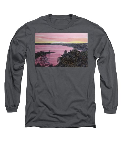 Long Sleeve T-Shirt featuring the painting Cherokee Lake Sunset by Joel Deutsch