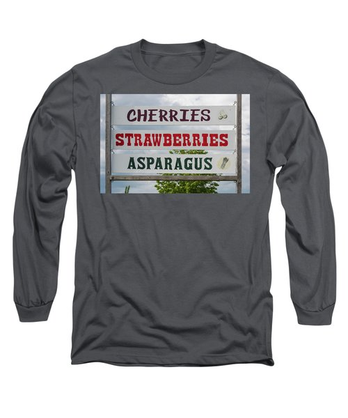 Cherries Strawberries Asparagus Roadside Sign Long Sleeve T-Shirt by Steve Gadomski