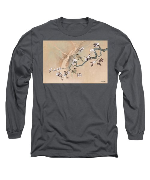 Cherry Blossom Tree And Two Birds Long Sleeve T-Shirt