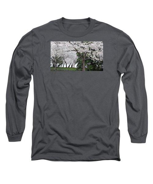 Cherry Blossoms Washington Dc Long Sleeve T-Shirt by Steve Archbold