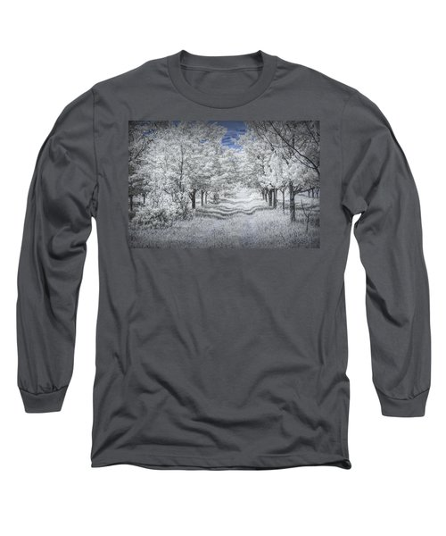 Cherry Orchard Roadway In Infrared Long Sleeve T-Shirt