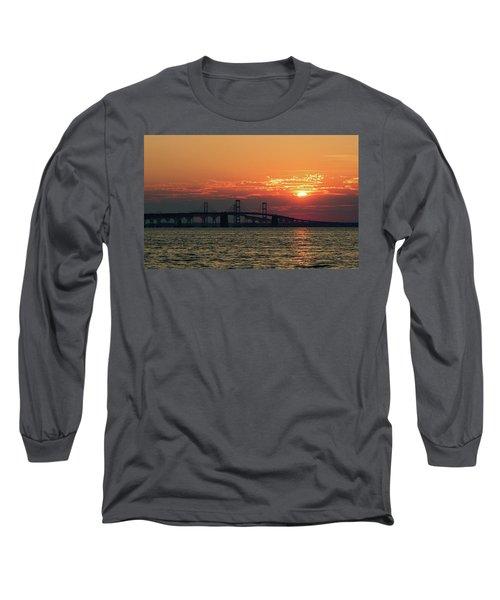 Chesapeake Bay Bridge Sunset 3 Long Sleeve T-Shirt