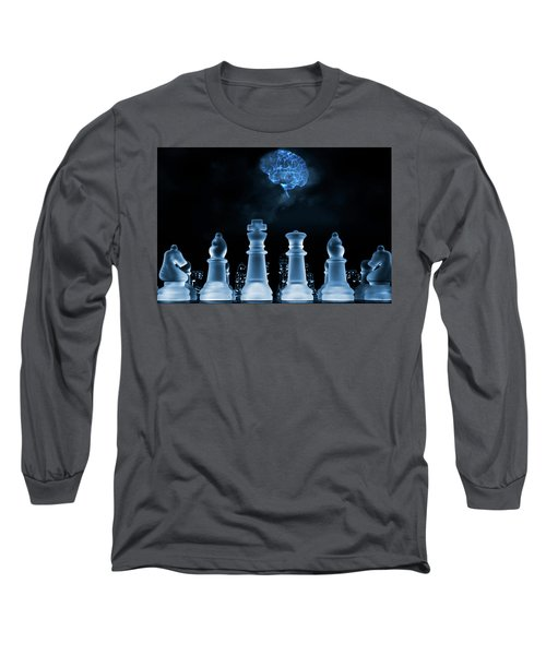 Chess Game And Human Brain Long Sleeve T-Shirt by Christian Lagereek