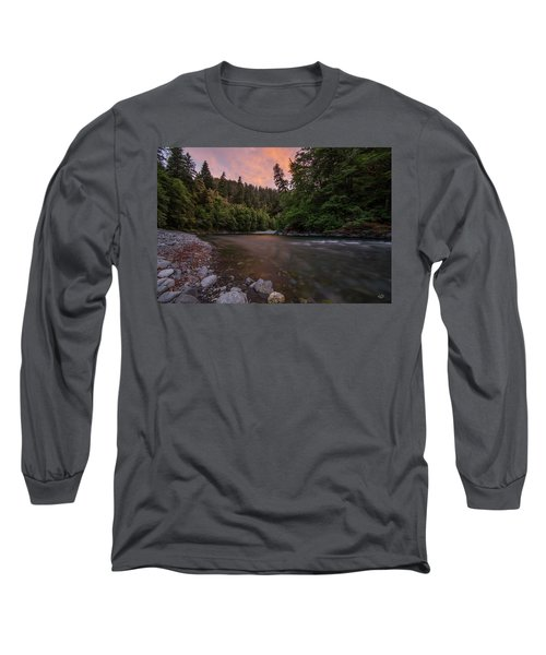 Long Sleeve T-Shirt featuring the photograph Chetco River Sunset by Leland D Howard