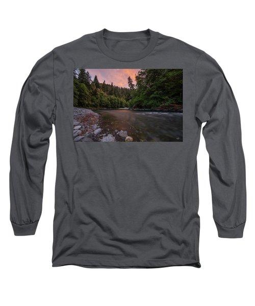 Chetco River Sunset Long Sleeve T-Shirt by Leland D Howard