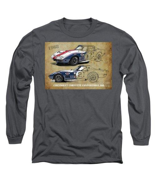 Chevrolet Corvette Convertible L88 1968,original Fast Race Car. Two Drawings, One Print Long Sleeve T-Shirt