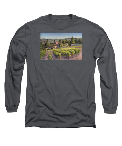 Long Sleeve T-Shirt featuring the painting Chianti Vineyard by Vikki Bouffard