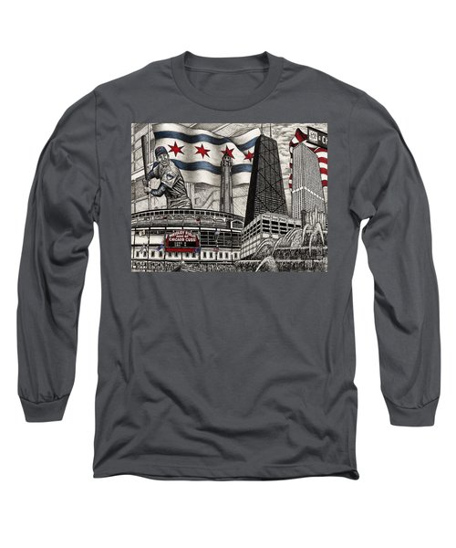 Chicago Cubs, Ernie Banks, Wrigley Field Long Sleeve T-Shirt