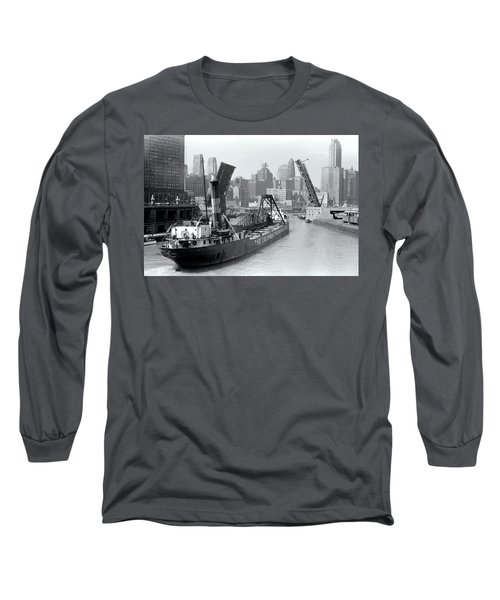Long Sleeve T-Shirt featuring the photograph Chicago Draw Bridge 1941 by Daniel Hagerman