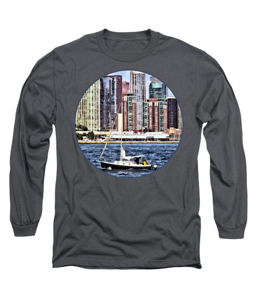 Chicago Il - Sailing On Lake Michigan Long Sleeve T-Shirt