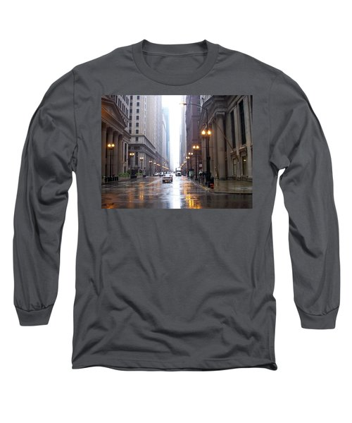 Chicago In The Rain Long Sleeve T-Shirt