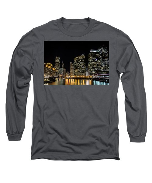Chicago Night Skyline From Wolf Point Long Sleeve T-Shirt