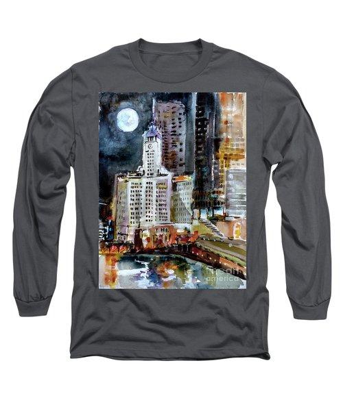 Chicago Night Wrigley Building Art Long Sleeve T-Shirt