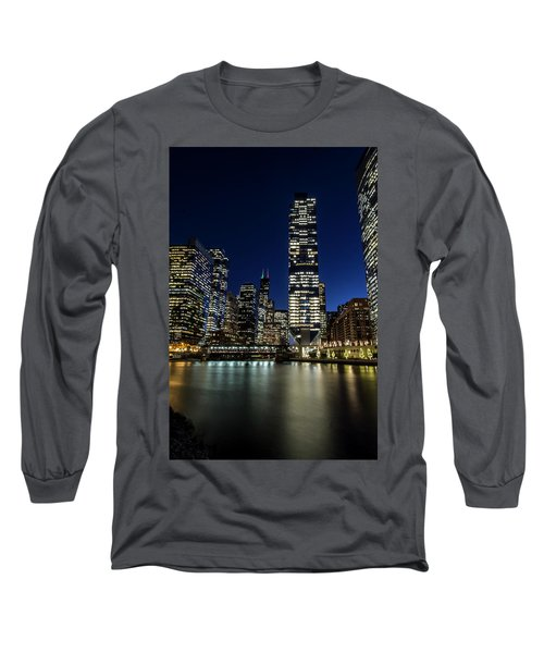 Chicago River And Skyline At Dusk  Long Sleeve T-Shirt