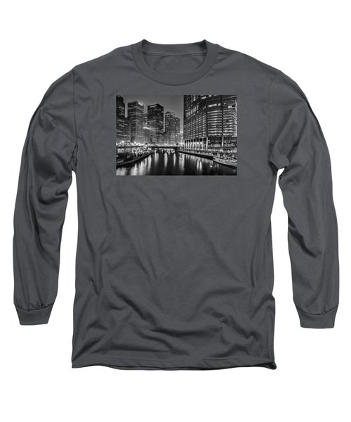 Long Sleeve T-Shirt featuring the photograph Chicago River View At Night by Andrew Soundarajan
