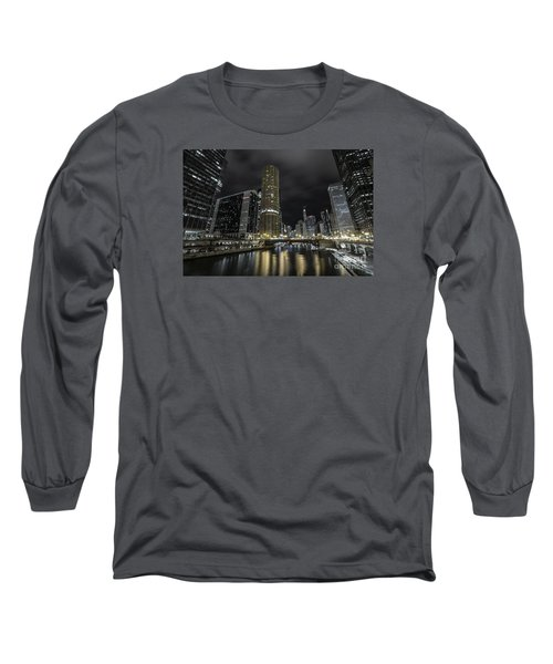 Chicago Riverfront Skyline At Night Long Sleeve T-Shirt