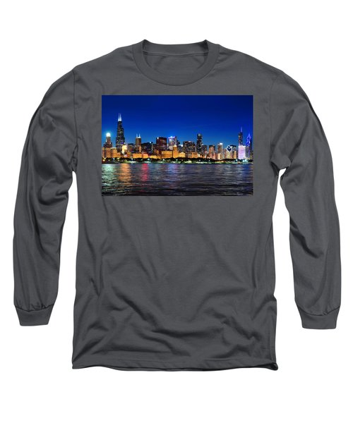 Chicago Shorline At Night Long Sleeve T-Shirt