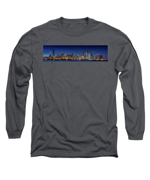 Long Sleeve T-Shirt featuring the photograph Chicago Skyline After Sunset by Emmanuel Panagiotakis