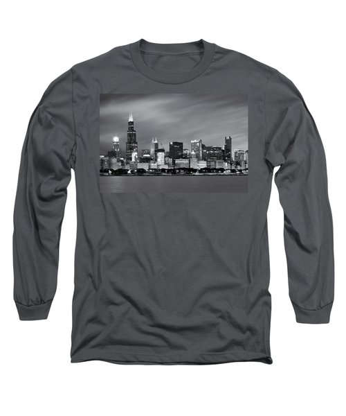 Long Sleeve T-Shirt featuring the photograph Chicago Skyline At Night Black And White  by Adam Romanowicz