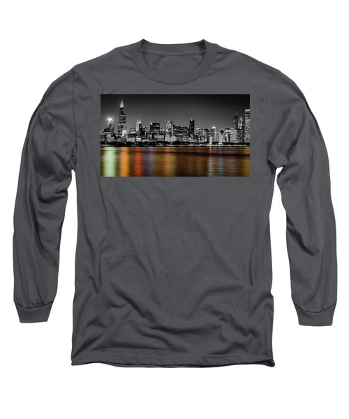 Chicago Skyline - Black And White With Color Reflection Long Sleeve T-Shirt