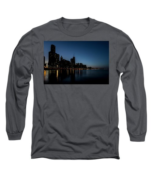 Chicago Skyline From Olive Park  Long Sleeve T-Shirt