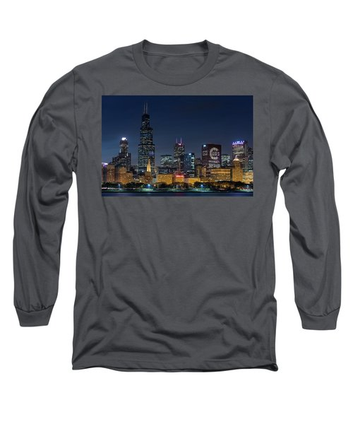 Long Sleeve T-Shirt featuring the photograph Chicago Skyline Go Gubs  by Emmanuel Panagiotakis