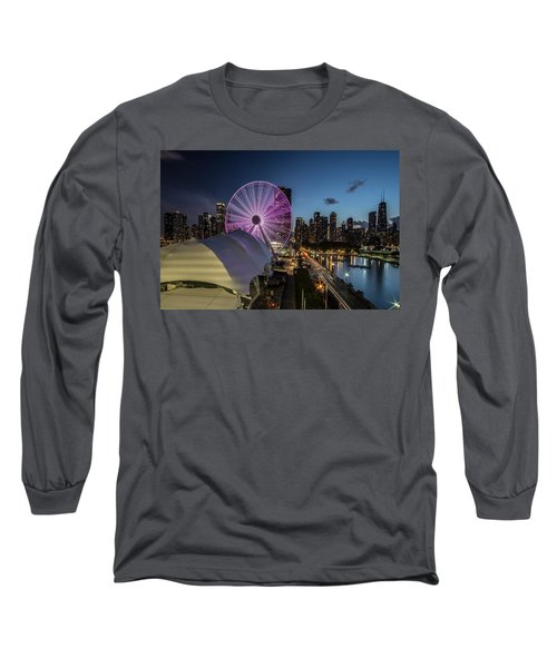 Chicago Skyline With New Ferris Wheel At Dusk Long Sleeve T-Shirt