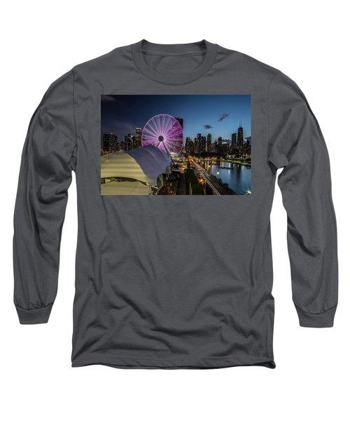 Chicago Skyline With New Ferris Wheel At Dusk Long Sleeve T-Shirt