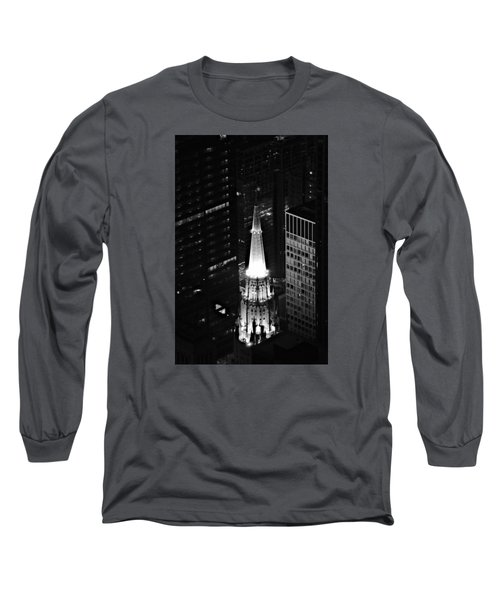 Long Sleeve T-Shirt featuring the photograph Chicago Temple Building Steeple Bw by Richard Zentner
