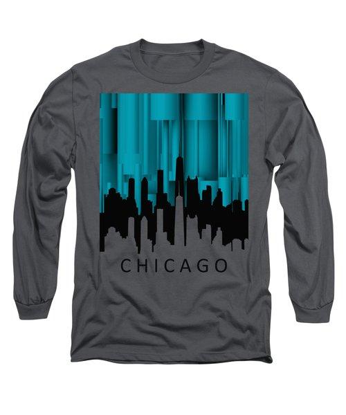 Chicago Turqoise Vertical Long Sleeve T-Shirt by Alberto RuiZ