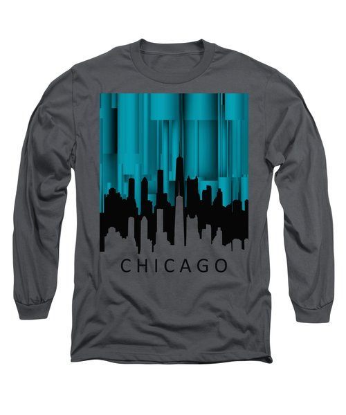 Chicago Turqoise Vertical Long Sleeve T-Shirt
