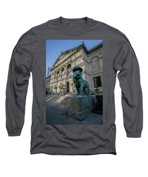 Chicago's Art Institute With Cubs Hat Long Sleeve T-Shirt