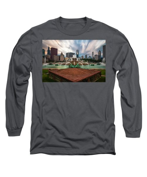 Chicago's Buckingham Fountain Long Sleeve T-Shirt by Sean Foster