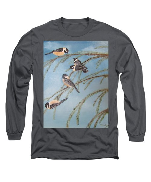 Chickadee Party Long Sleeve T-Shirt by Thomas Janos