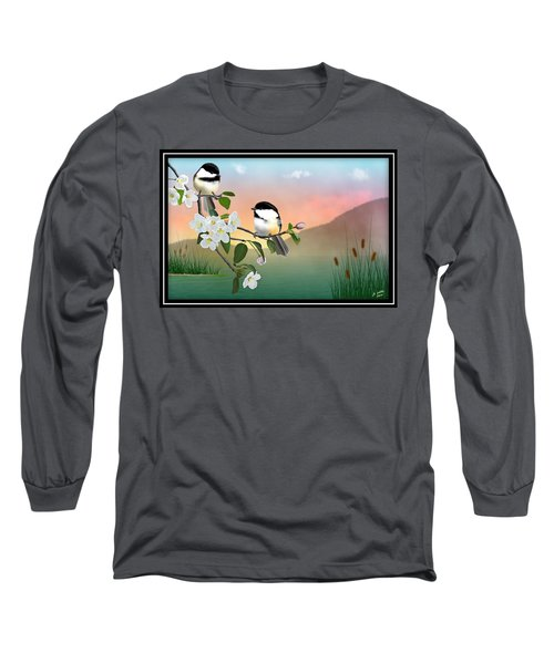 Chickadees And Apple Blossoms Long Sleeve T-Shirt