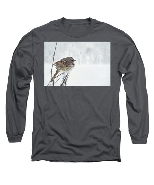 Long Sleeve T-Shirt featuring the mixed media Chilly Song Sparrow by Lori Deiter