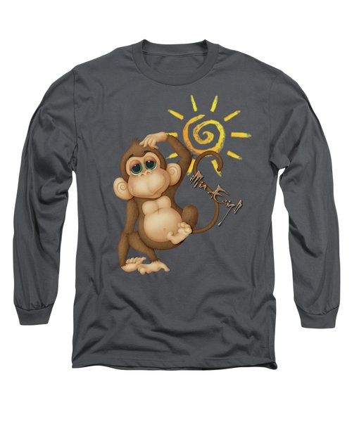 Chimpanzees, Mother And Baby Long Sleeve T-Shirt by Maria Astedt