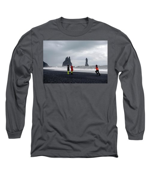 Long Sleeve T-Shirt featuring the photograph China's Tourists In Reynisfjara Black Sand Beach, Iceland by Dubi Roman